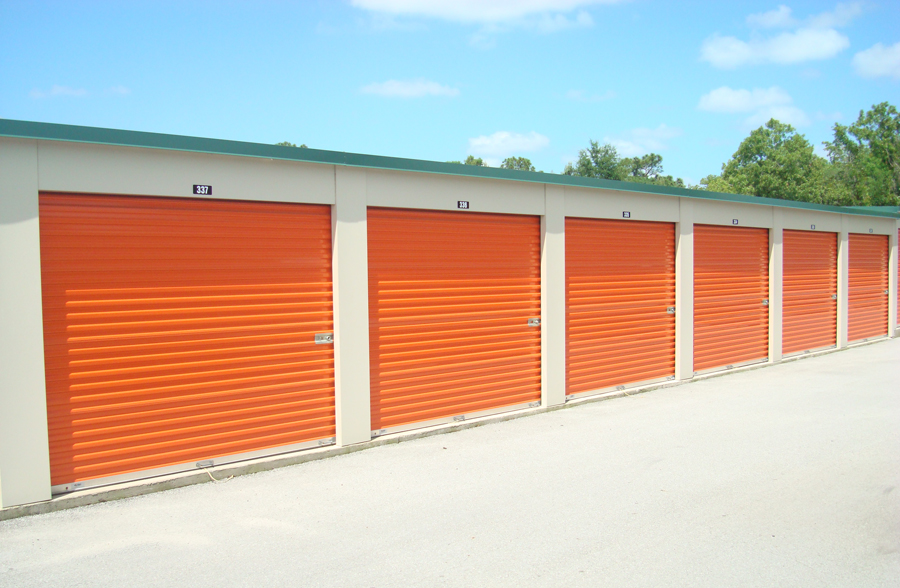 Self-storage units down an aisle