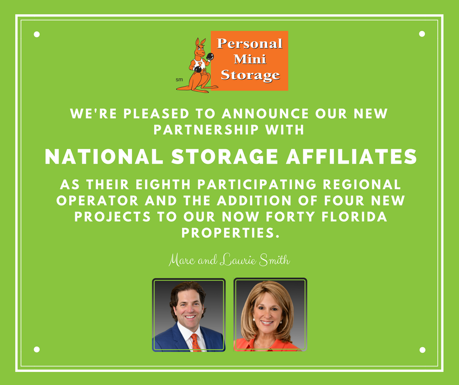 Personal Mini Storage partnering with National Storage Affiliates as eighth Participating Regional Operator