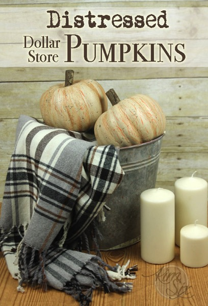 Distress-painted-dollar-store-pumpkins